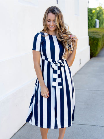 Cali Striped Tie Dress - Navy