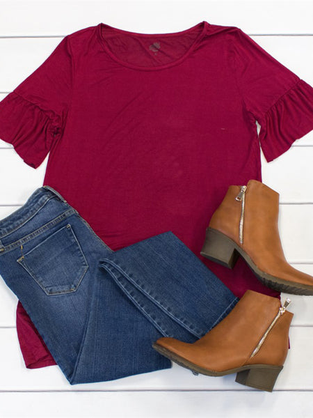 Flare Sleeve Top - Cranberry - Tickled Teal LLC