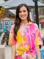 Tie Dye Hooded Tee - Pink Yellow