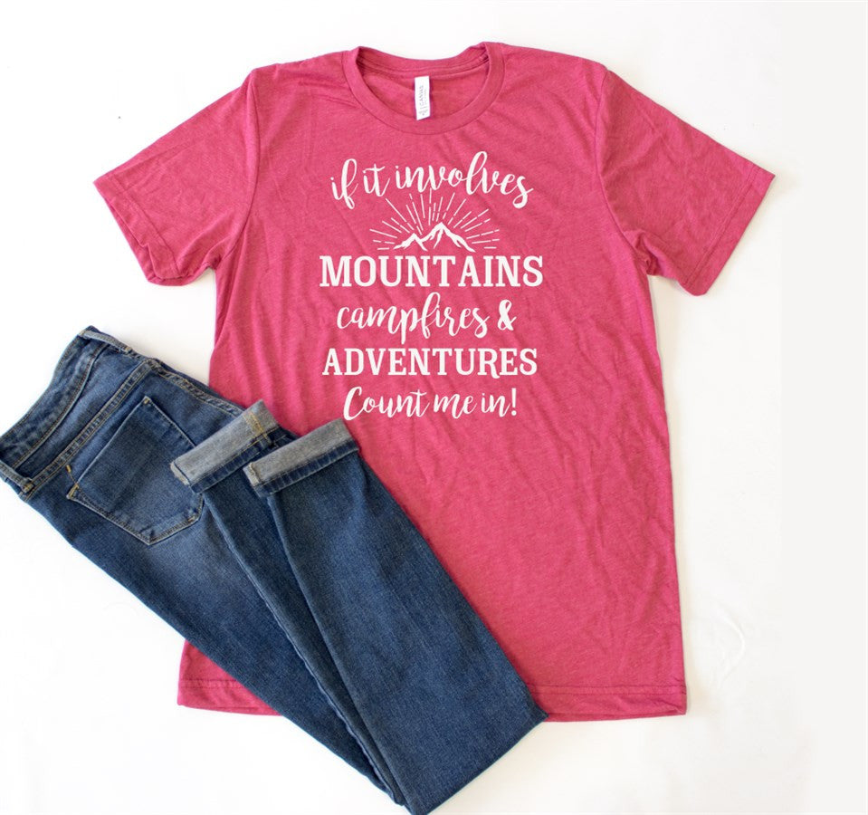 If It Involves Mountains Crew Neck Tee - Tickled Teal LLC