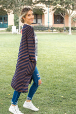 The Striped Leah Cardigan - Brown/Navy