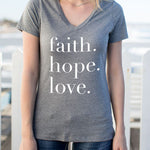 Faith Hope Love Tshirt - Tickled Teal LLC