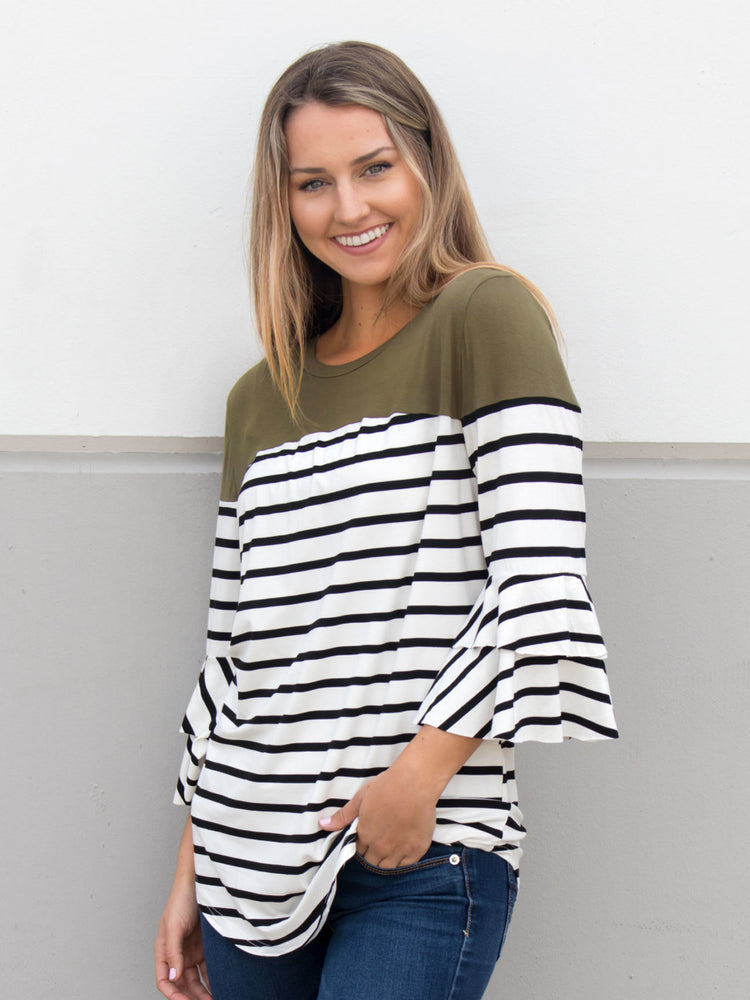 Double Ruffle Stripe Color Block Top - Olive