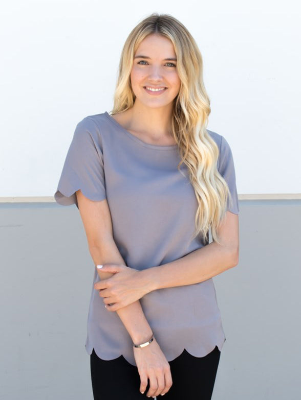 Scallop Edge Top - Gray