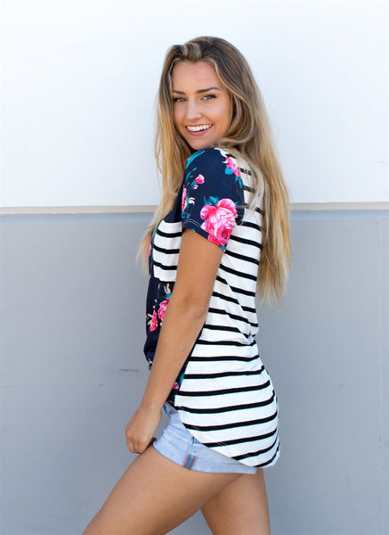 Floral & Stripe Tunic - Tickled Teal LLC