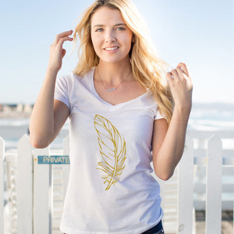 Gold Feather Tshirt - Tickled Teal LLC