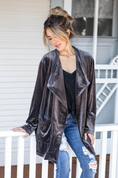 The Poppy Velvet Cardigan - Gray - Tickled Teal LLC