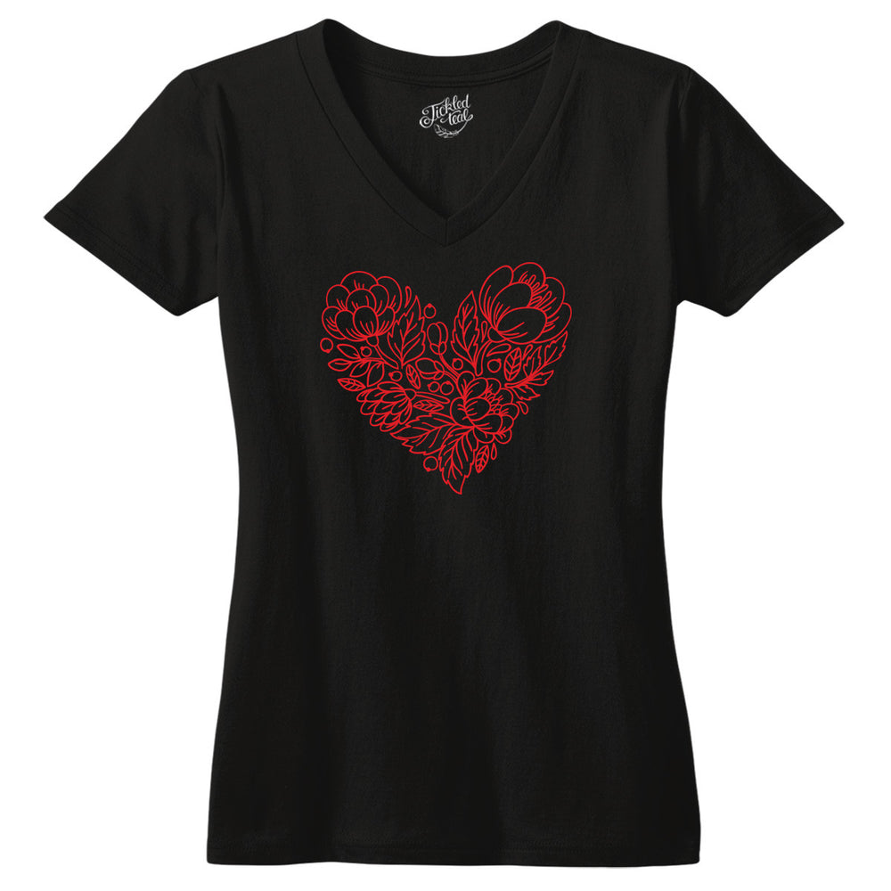 Floral Red Heart Tshirt - Tickled Teal LLC