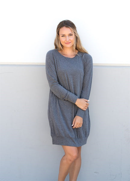 Pocket Sweater Tunic - Gray - Tickled Teal LLC