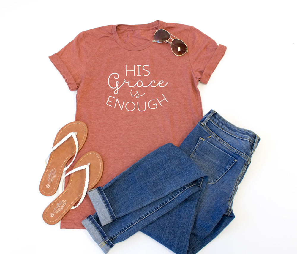 His Grace is Enough Crew Neck Tee - Tickled Teal LLC