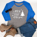 The Most Wonderful Time Of The Year Raglan Tee - Tickled Teal LLC