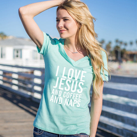I Love Jesus and Coffee and Naps Tshirt - Tickled Teal LLC