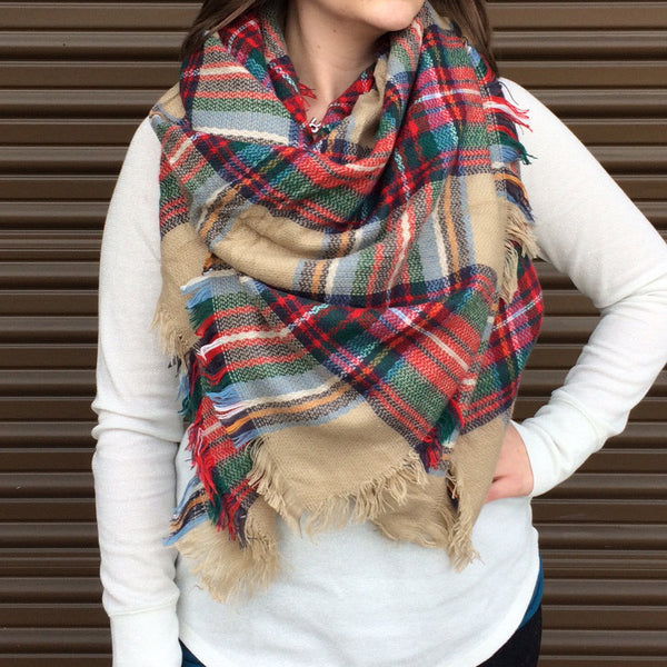 Tan Green Red Plaid Blanket Scarf Tickled Teal Llc
