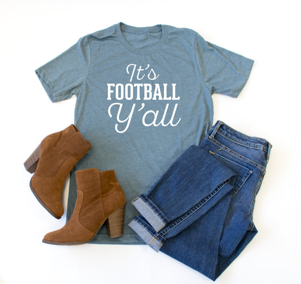 It's Football Y'all Crew Neck Tee - Tickled Teal LLC