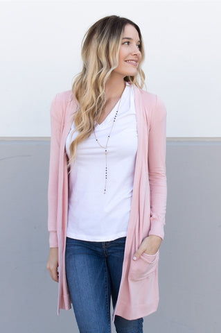 Long Pocket Cardigan - Blush Pink