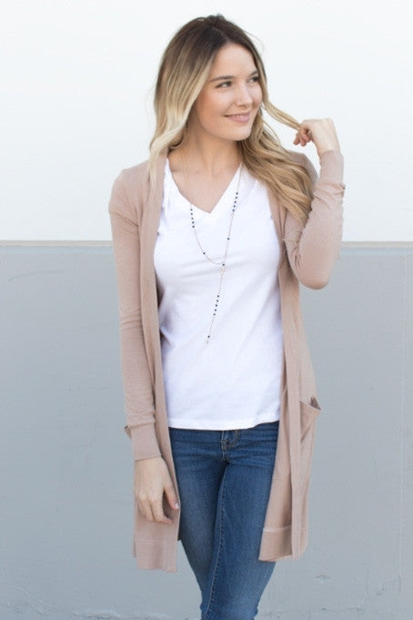 Long Pocket Cardigan - Tan - Tickled Teal LLC