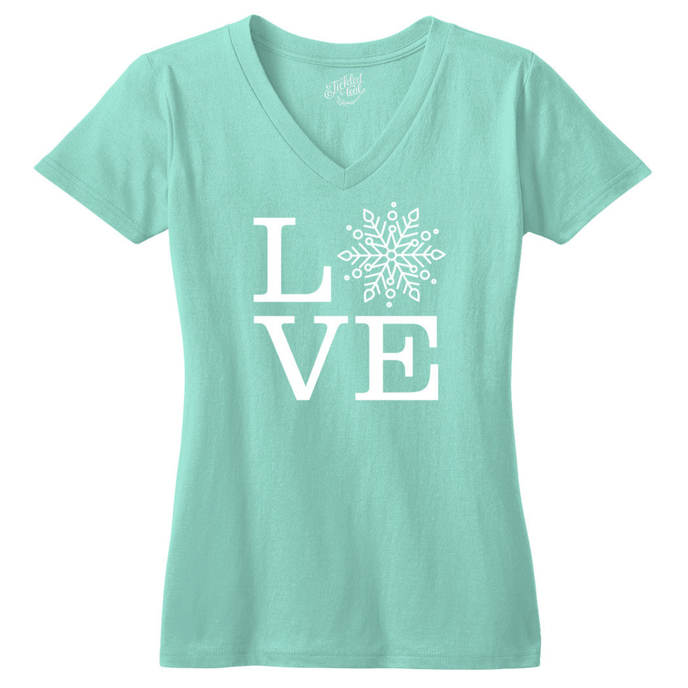 Love Snowflake Tshirt - Tickled Teal LLC