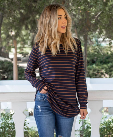 The Mia Top-  Navy / Brown - Tickled Teal LLC