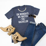 On Mondays we watch The Bachelor Crew Neck Tee - Tickled Teal LLC