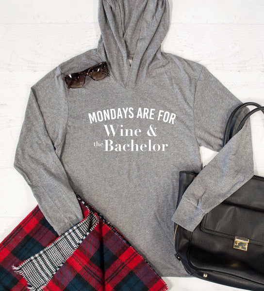 Mondays are for Wine & The Bachelor Graphic Hoodie - Tickled Teal LLC