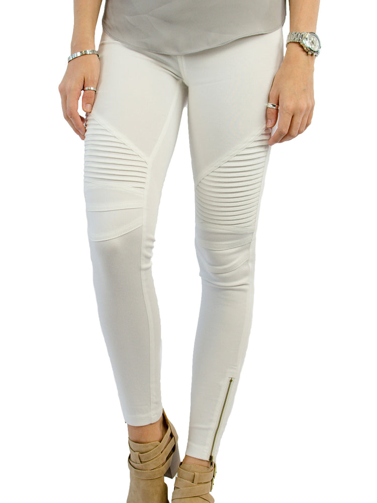 Moto Jegging - Cream - Tickled Teal LLC