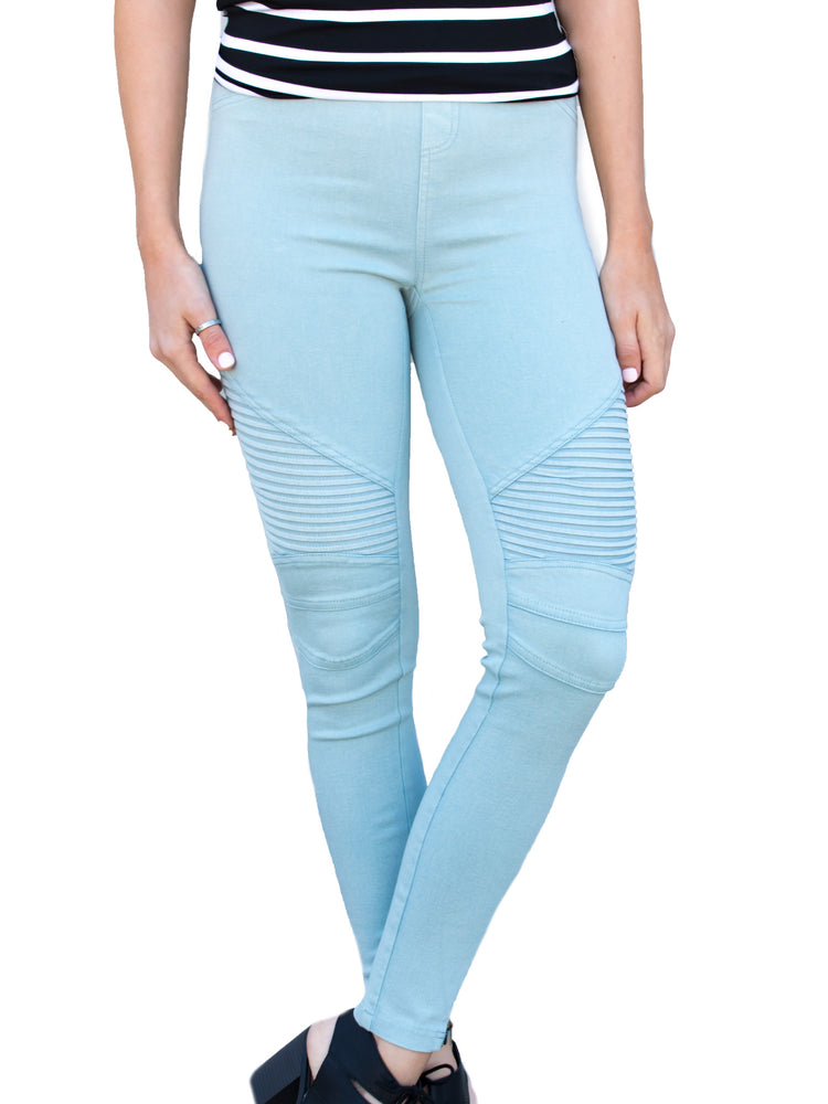 Moto Jegging - Sky Blue - Tickled Teal LLC