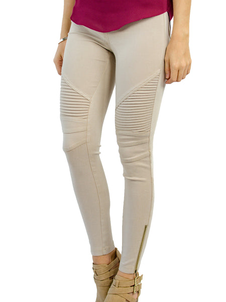 Moto Jegging - Tan - Tickled Teal LLC