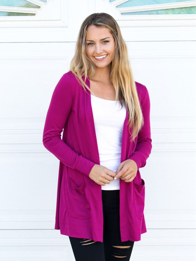 Long Sleeve Boyfriend Cardigan - Raspberry
