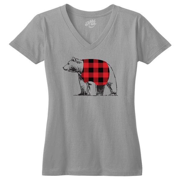 Plaid Bear Tshirt - Tickled Teal LLC