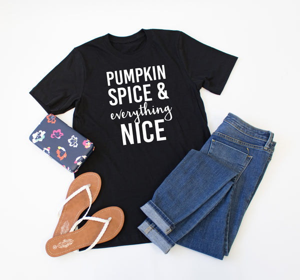 Pumpkin Spice & Everything Nice Crew Neck Tee - Tickled Teal LLC