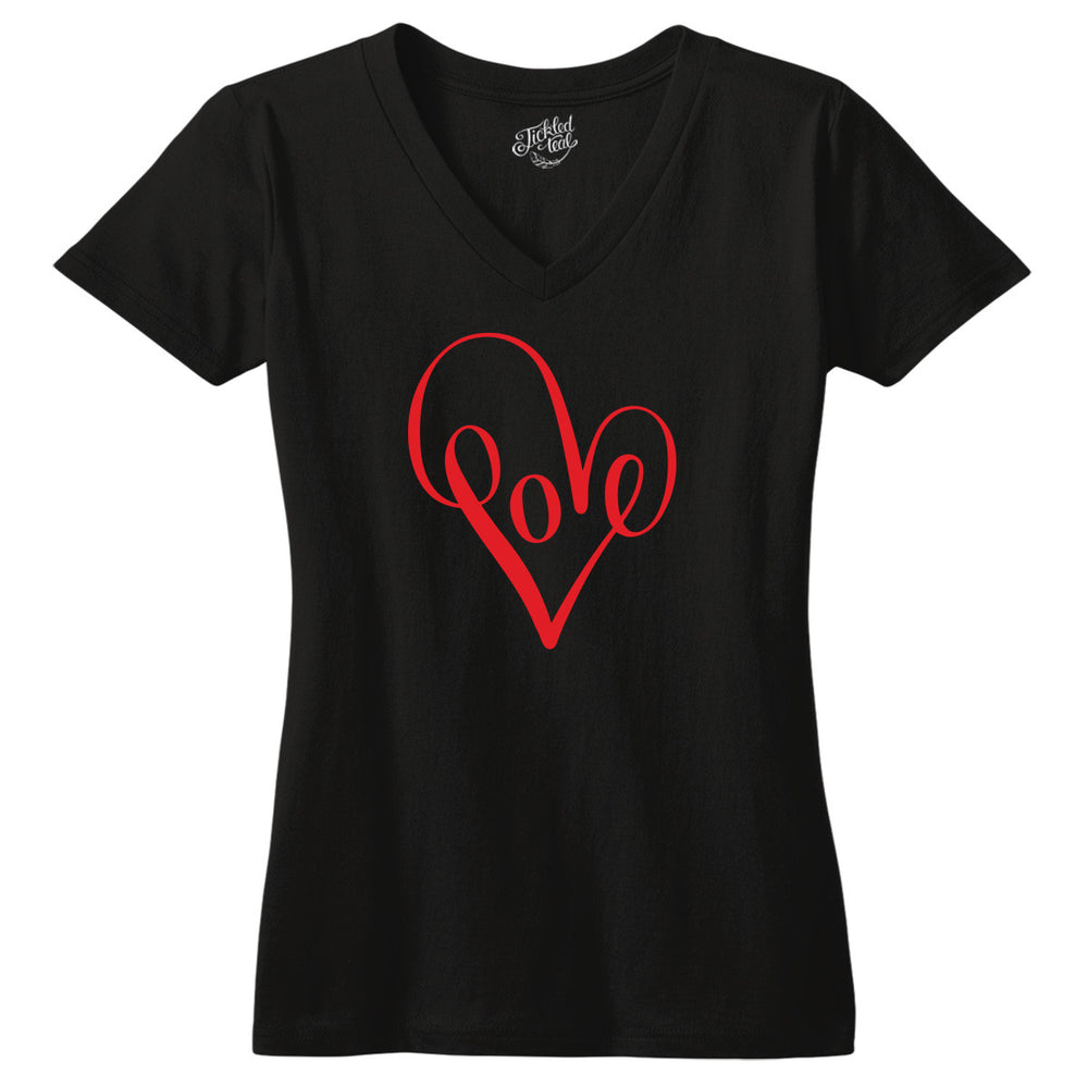 Red Love Heart Tshirt - Tickled Teal LLC