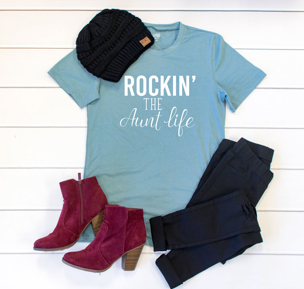 Rockin the Aunt Life Crew Neck Tee - Tickled Teal LLC