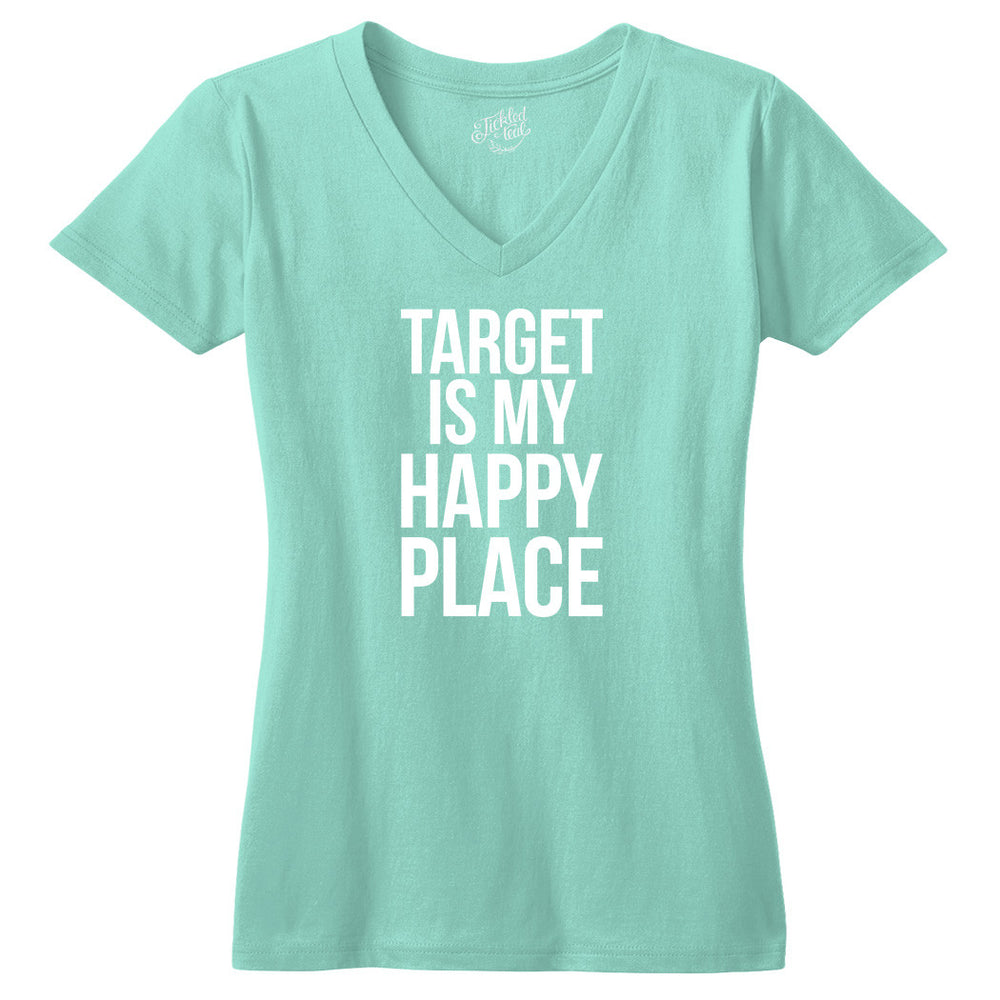 Target Is My Happy Place Vneck Tshirt - Tickled Teal LLC