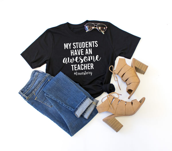 Awesome Teacher Crew Neck Tee - Tickled Teal LLC