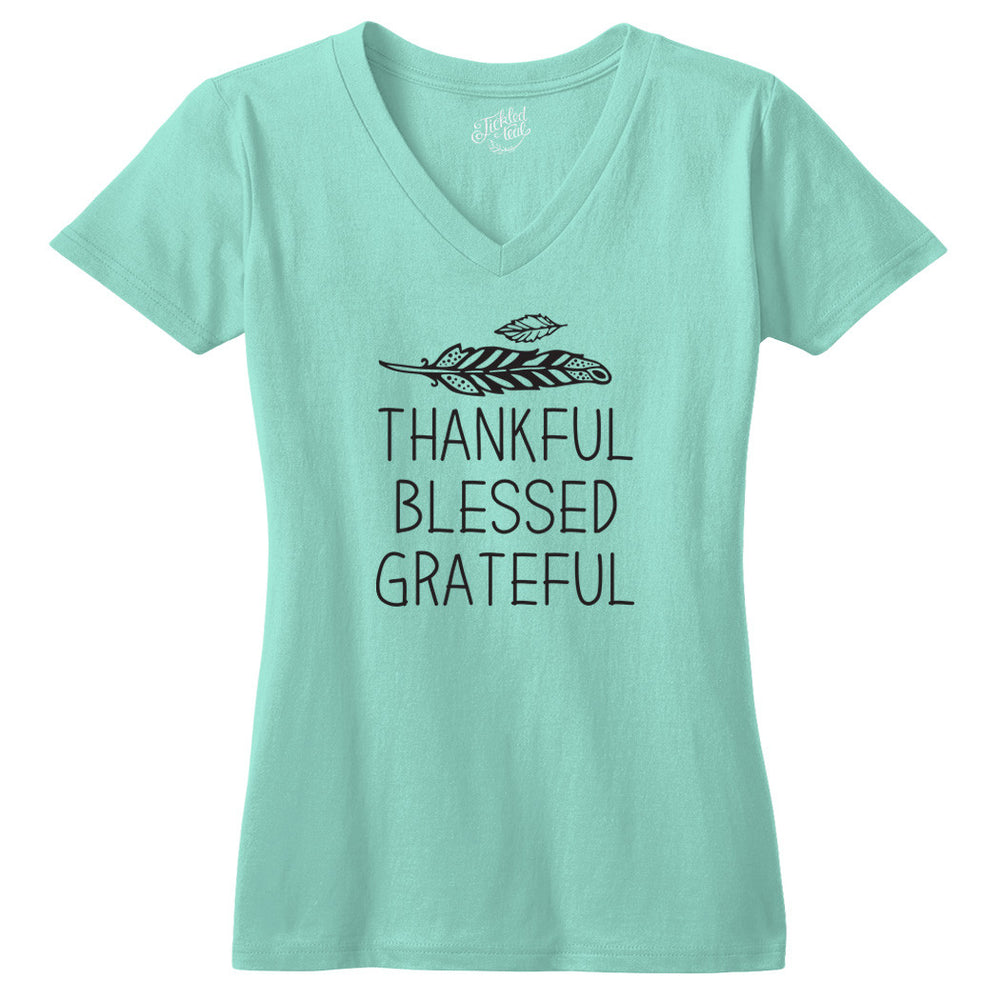 Thankful Blessed Grateful Tshirt - Tickled Teal LLC