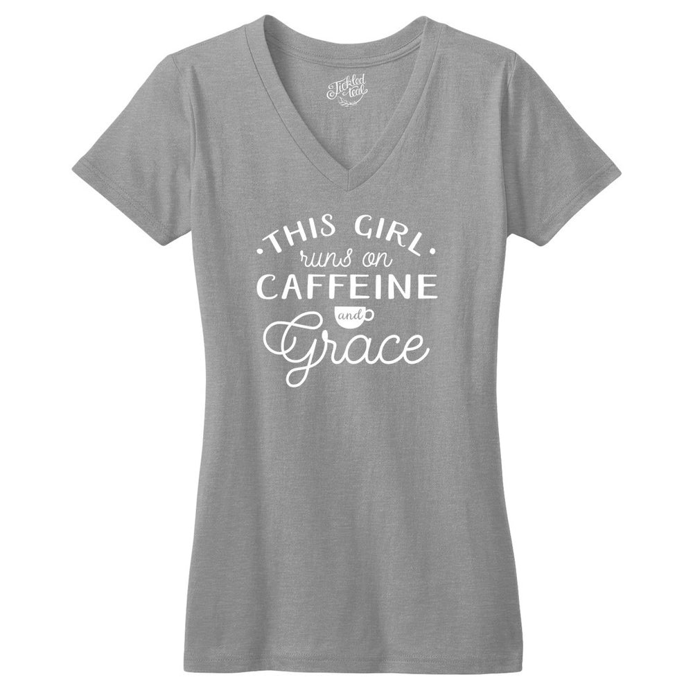 This Girl Runs on Caffeine and Grace Tshirt - Tickled Teal LLC
