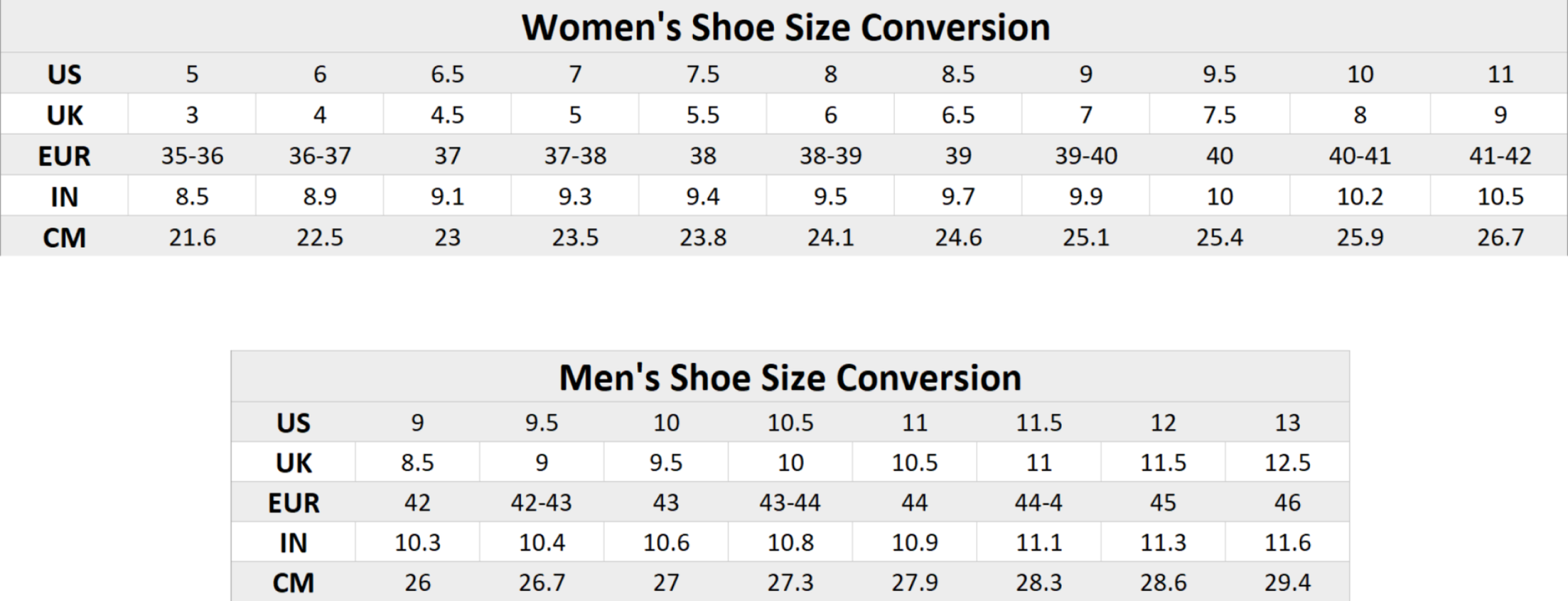 inooknit US shoe size conversion chart for men and women