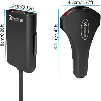 usb car charger fast charging full dimensions