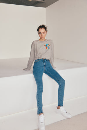 Load image into Gallery viewer, The Elvie Grey Studded Neptune Sweat