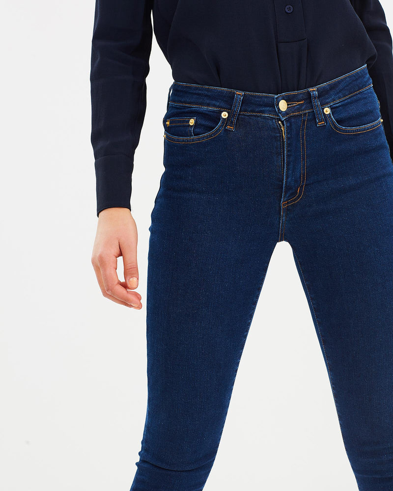 The Skinny Straight 7/8 Denim Jean - Red Cast