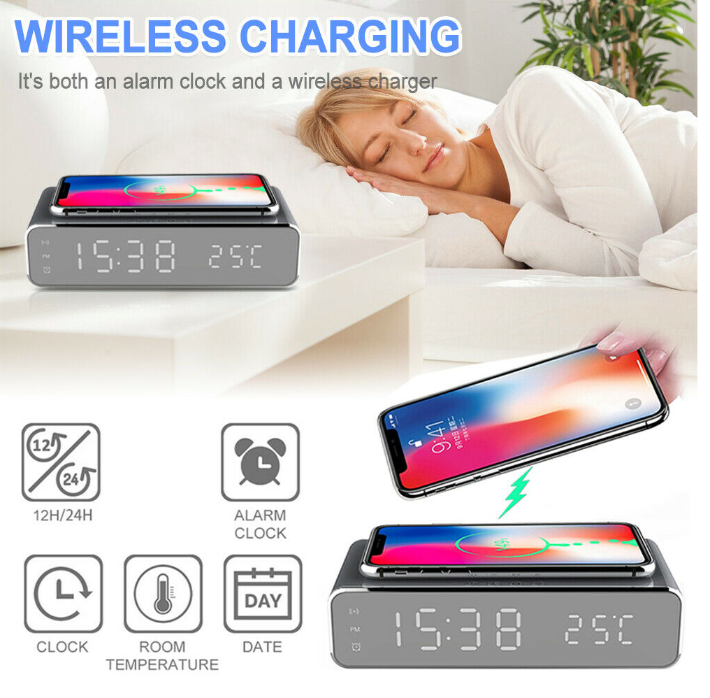 Electric 24H/12H Alarm LED Clock With Phone Wireless Charger and Digital Thermometer Display