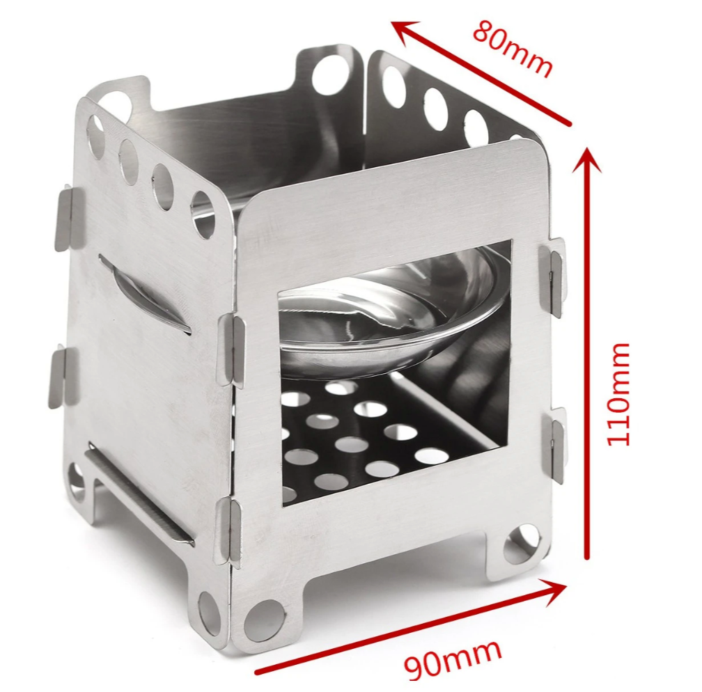 Outdoor Camping Wood Cooking Stove | Furnace Wind Shield With Plate Cookware