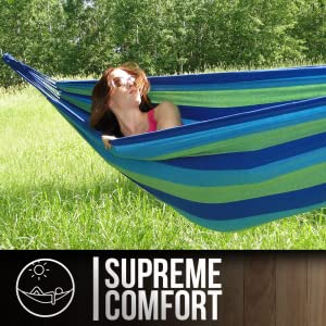 A young woman in a hammock