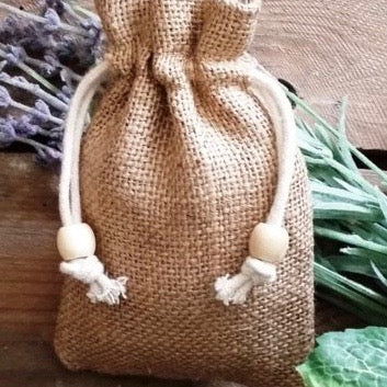 Drawstring jute hessian carrier bag from BaldyBeardy