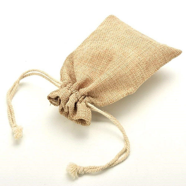 Drawstring jute hessian carrier bag for beard products by BaldyBeardy