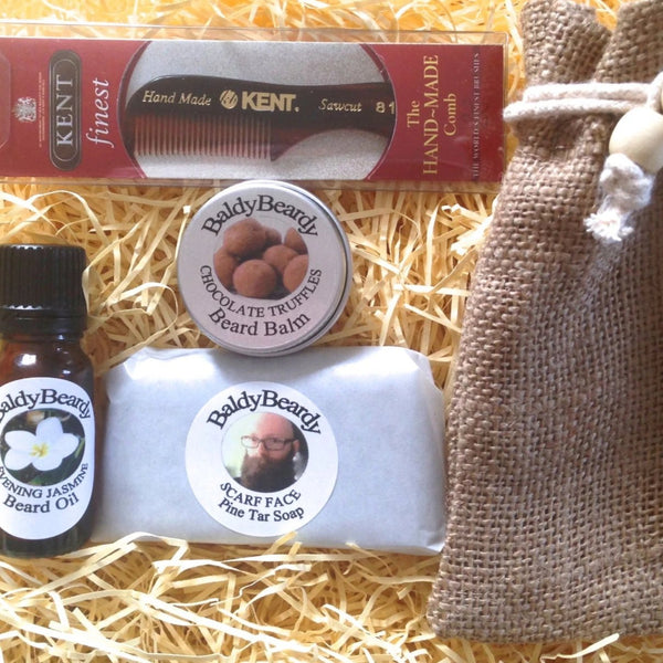 Mini beard care, grooming and maintenance kit for men by BaldyBeardy