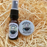 Sandalwood Amyris beard oil and balm combination pack with atomiser spray lid by BaldyBeardy
