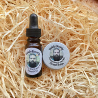 Sandalwood Amyris beard oil and balm combination pack with pipette lid by BaldyBeardy