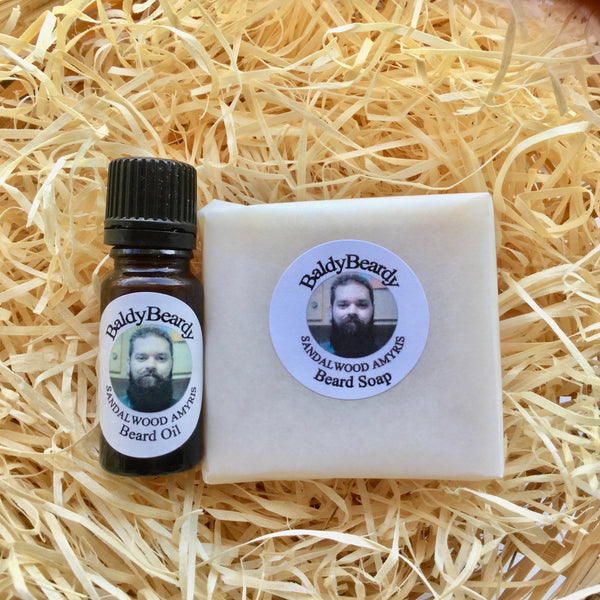 Sandalwood Amyris beard oil and soap combination package with dropper lid by BaldyBeardy