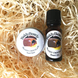 Brandy Chocolate beard oil and balm combination pack by BaldyBeardy with dropper lid